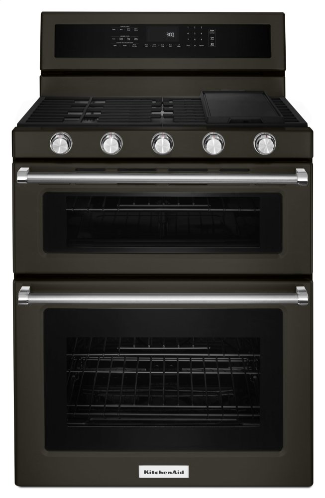 Kitchenaid30-Inch 5 Burner Gas Double Oven Convection Range - Black Stainless Steel With Printshield™ Finish