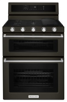 30-Inch 5 Burner Gas Double Oven Convection Range - Black Stainless