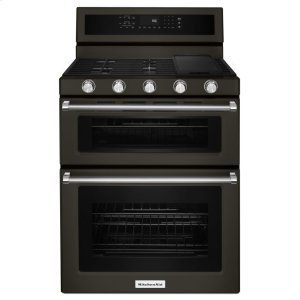 Kitchenaid30-Inch 5 Burner Gas Double Oven Convection Range - Black Stainless