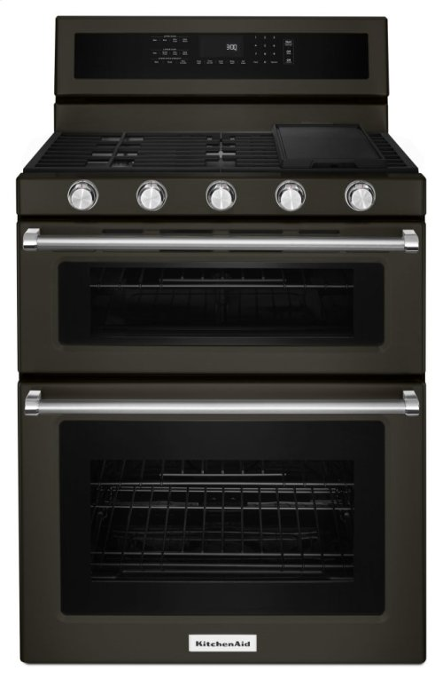 30-Inch 5 Burner Gas Double Oven Convection Range - White