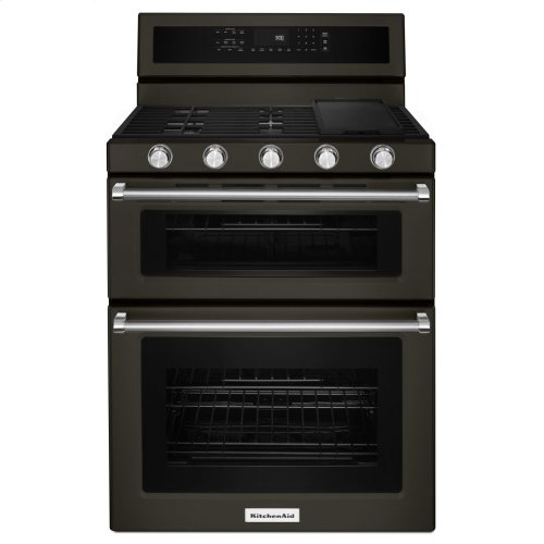 30 Inch 5 Burner Gas Double Oven Convection Range Black Stainless
