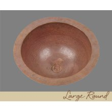 Solid Copper Large Round Lavatory - Light Hammertone - Dark