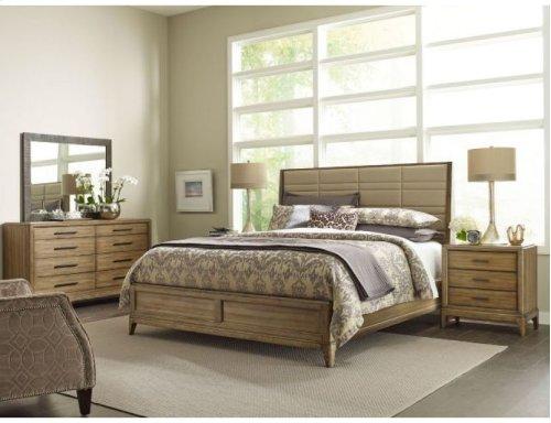 Upholstered Cal King Sheltered Bed - Complete
