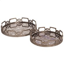 Antiqued Round Trays - set of 2
