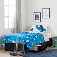 Twin Mates Bed with Cosmic Comforter and Pillowcase - 39''