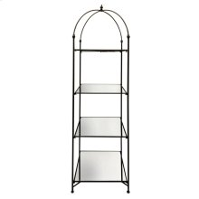 "Metal 88"" 4 Tier Mirrored Shelf, Black, Kd"