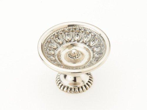 "Solid Brass, Symphony, Chalice, Round Knob, 1-9/16"" diameter, White Brass finish"