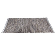 Blue & Beige Leather Chindi 5'x8' Rug (Each One Will Vary)
