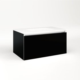 """Cartesian 30-1/8"""" X 15"""" X 18-3/4"""" Single Drawer Vanity In Black With Slow-close Plumbing Drawer and Night Light In 5000k Temperature (cool Light)"""