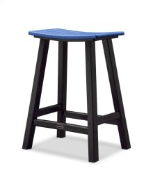 "Black & Pacific Blue Contempo 24"" Saddle Bar Stool"