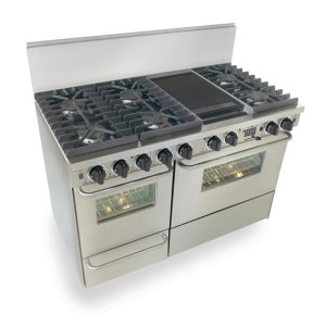 "Five Star48"" Dual Fuel, Convect, Self Clean, Sealed Burners, Stainless Steel"