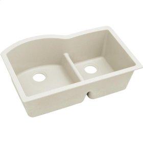 "Elkay Quartz Luxe 33"" x 22"" x 10"", Offset 60/40 Double Bowl Undermount Sink with Aqua Divide, Ricotta"