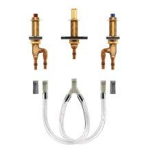 "two handle roman tub valve 10"" - 24"" center 1/2"" crimp ring pex cpvc connection"