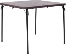34'' Square Bi-Fold Brown Wood Grain Plastic Folding Table with Carrying Handle