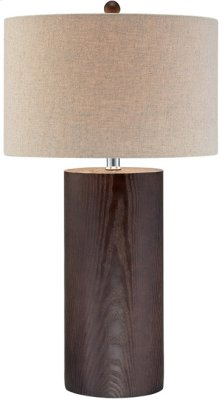 Table Lamp, Dark Walnut Finished/linen Shade, E27 Cfl 23w