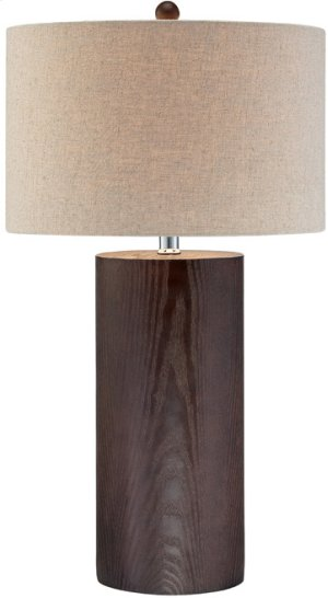 Table Lamp, Dark Walnut Finished/linen Shade, E27 Cfl 23w