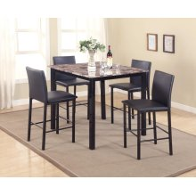 5PC FAUX MARBLE WITH METAL LEG PUB SET(5 IN 1)