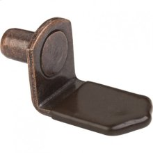 """Antique Copper 1/4"""" Pin Angled Shelf Support with 3/4"""" Arm and Brown Plastic Sleeve"""