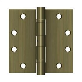 "4 1/2""x 4 1/2"" Square Hinge, HD, Ball Bearings - Antique Brass"