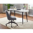 """Kinsley Swivel Upholstered Desk Chair Gray 21""""x25""""x34""""-37""""H Product Image"""
