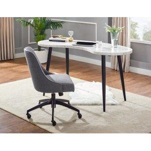 """Steve Silver Co.Kinsley Swivel Upholstered Desk Chair Gray 21""""x25""""x34""""-37""""H"""