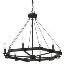 6 Ltg Black Smith Metal Chandelier(Edison Bulbs Not Included)