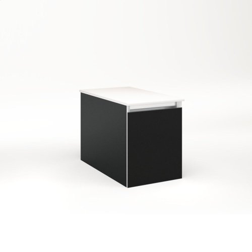 """Cartesian 12-1/8"""" X 15"""" X 21-3/4"""" Single Drawer Vanity In Matte Black With Slow-close Full Drawer and Night Light In 5000k Temperature (cool Light)"""