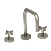 Metrohaus lavatory widespread faucet with swivel spout, cross handles and pop-up waste.