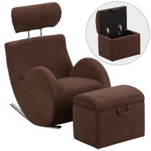 Brown Fabric Rocking Chair with Storage Ottoman