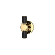 Tube Stitch Out Combination Leather In Black And Polished Brass