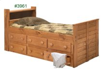 Twin Bookcase Captain Bed w/Six-Drawer Under Bed Unit