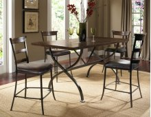 Cameron 5pc Counter Height Rectangle Wood Dining Set with Ladderback Stools