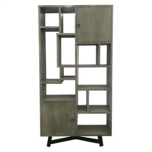 CRESTVIEW COLLECTIONSBengal Manor Grey Acacia Wood 2 Door Offset Large Etagere