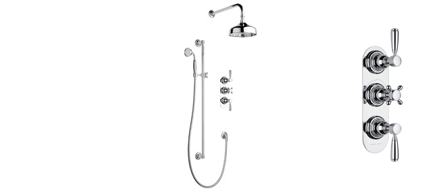 "Satin Nickel Fairfield 3/4"" Concealed Thermostatic Shower, 2 Flow Controls"