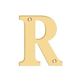 "4"" Residential Letter R - PVD Polished Brass"