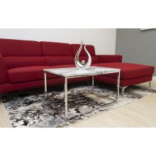 Marble Finish Coffee Table With Chrome Base
