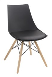 Annette - Dining Chair Black Pu Seat-wood Leg Base