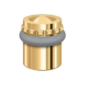 "Round Universal Floor Bumper Pattern Cap 1-1/2"", Solid Brass - PVD Polished Brass"