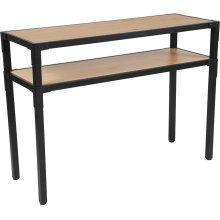 Holmby Collection Knotted Pine Wood Grain Finish Console Table with Black Metal Legs