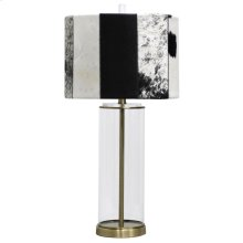 Soft Brass  30in Clear Glass Cylinder & Metal Table Lamp with Faux Hide Designer Shade  100 Watts