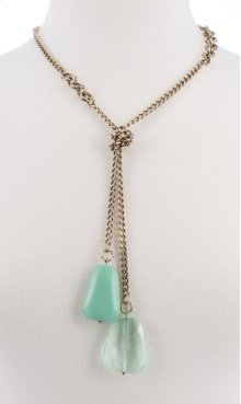 BTQ Drop Stone Necklace - Blue