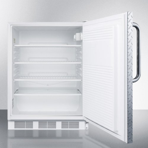 ADA Compliant All-refrigerator for Freestanding General Purpose Use, Auto Defrost W/diamond Plate Wrapped Door, Towel Bar Handle, Lock, and White Cabinet
