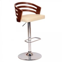 Adele Swivel Barstool In Cream PU/ Walnut Veneer and Chrome Base