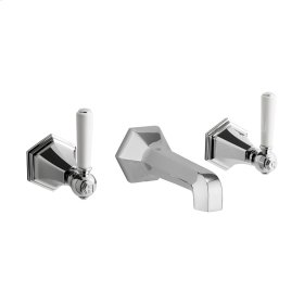 Waldorf White Lever Wall Mounted Widespread Lavatory Faucet Trim - Polished Nickel
