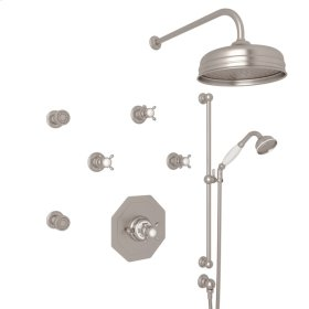 Satin Nickel Perrin & Rowe Edwardian Thermostatic Shower Package with Cross Handle