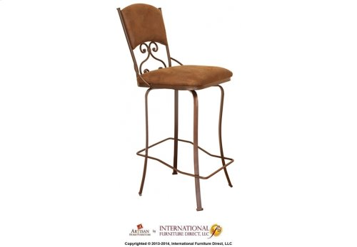 30in Swivel Barstool w/Arms -Brown Microfiber Seat and back