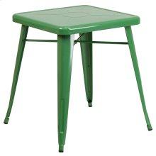 23.75'' Square Green Metal Indoor-Outdoor Table