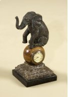 VERDIGRIS FINISHED CAST BRASS ELEPHANT TABLE TOP CLOCK, PENS HELL INLAY, STONE BASE Product Image