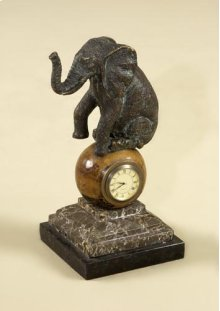 VERDIGRIS FINISHED CAST BRASS ELEPHANT TABLE TOP CLOCK, PENS HELL INLAY, STONE BASE
