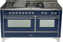 Midnight Blue with Chrome trim - Majestic 60-inch Range with Griddle + French Cooktop